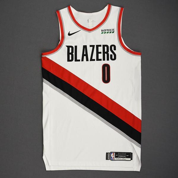 Image of Damian Lillard - Portland Trail Blazers - Kia NBA Tip-Off 2019 - Game-Worn Association Edition Jersey - Scored Game-High 32 Points