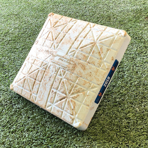 Photo of Game Used Base - Amed Rosario Hits Grand Slam in the 6th - 1st Base - Innings 4-6 - Mets vs. Marlins - 9/23/19