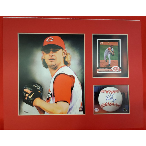 Photo of Matted Bronson Arroyo Portrait with Card and Ball - 11x14