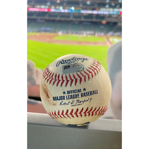 Photo of Game-Used Baseball: 2020 NLDS - Miami Marlins vs. Atlanta Braves - Game 1 - Pitcher: Max Fried, Batter: Miguel Rojas (Home Run) - Top 2