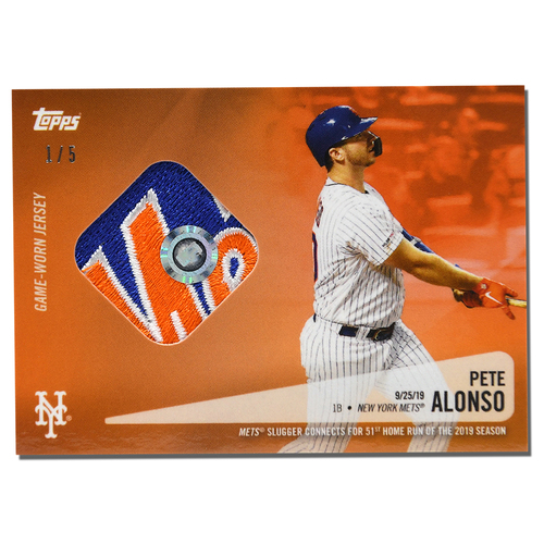 Photo of Pete Alonso #20 - Limited Edition of 5 Orange Topps Card - Features Authenticated Game Used Jersey from 2019 Rookie of the Year Campaign - Alonso Hits 51st HR on 9/25/19