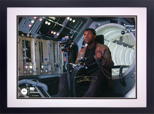 John Boyega as Finn in the Gunner Position on the Millennium Falcon Autographed in Gold Ink 16x20 Framed Photo