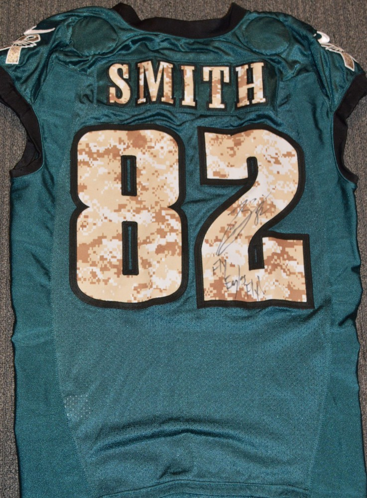 EAGLES - Torrey Smith SALUTE TO SERVICE SIGNED PRACTICE WORN JERSEY NOVEMBER 2017 WITH CAMO NUMBERS
