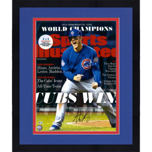 "Photo of Anthony Rizzo Chicago Cubs 2016 MLB World Series Champions Framed Autographed 16"" x 20"" Cubs Win Sports Illustrated Cover Reprint Photo"