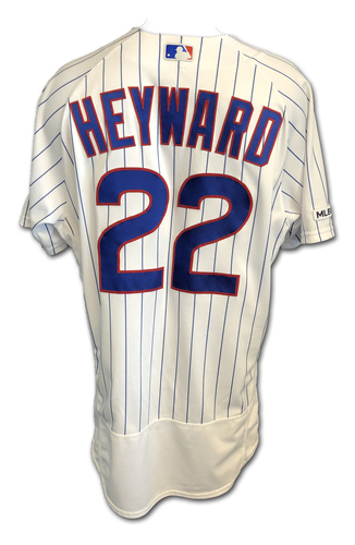 Photo of Jason Heyward Game-Used Jersey -- Pinch-Hit 3-RBI Double -- Pediatric Cancer Awareness Patch -- 9/13/19 -- Pirates vs. Cubs