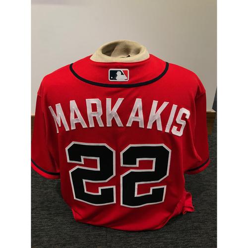 Photo of Nick Markakis 2019 Atlanta Braves Team-Issued Los Bravos Day Jersey