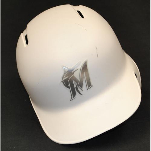 """Photo of Elieser """"LILO"""" Hernandez Miami Marlins Game-Used 2019 Players' Weekend Helmet"""