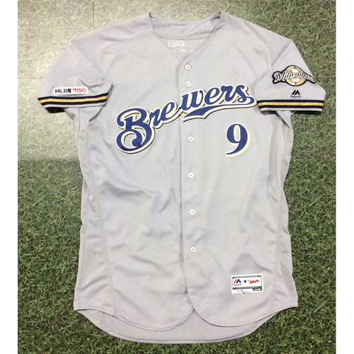 Photo of Manny Pina 2019 Game-Used Road Grey Jersey