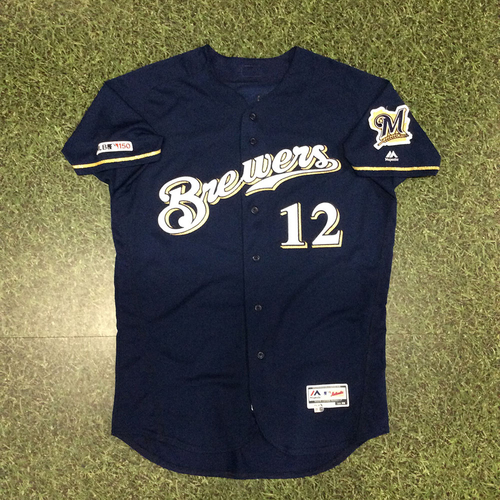 Photo of Alex Wilson 2019 Game-Used Navy Alternate Jersey