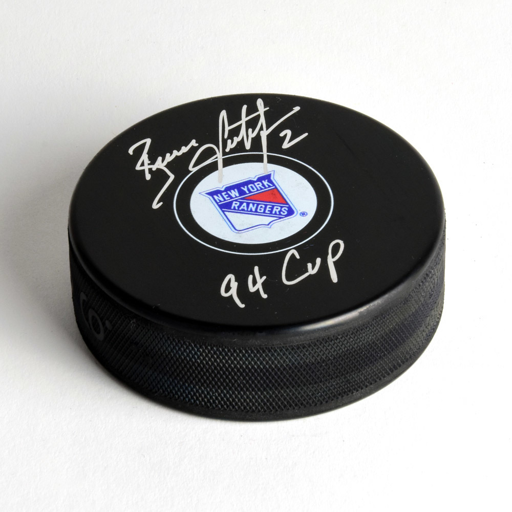 Brian Leetch New York Rangers Autographed Hockey Puck with 94 Cup Note