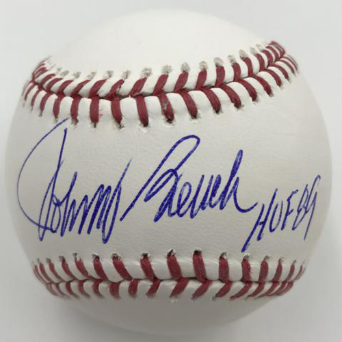 "Photo of Johnny Bench ""HOF 89"" Autographed Authentic Baseball"