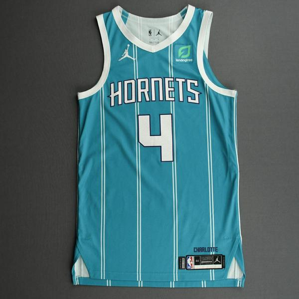 Image of Devonte Graham - Charlotte Hornets - Game-Worn Icon Edition Jersey - Recorded a Double-Double