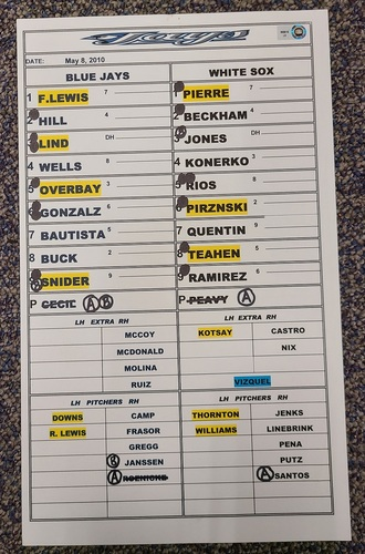 Photo of Authenticated Game Used Lineup Card (May 8, 2010 at CWS): Paul Konerko with 1 HR and 2 RBIs