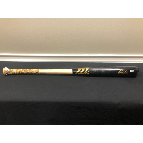 Photo of Curt Casali -- Game-Used Broken Bat -- 08/07/20 - MIL vs CIN - 9th Inning - Claudio to Casali (Ground Out)