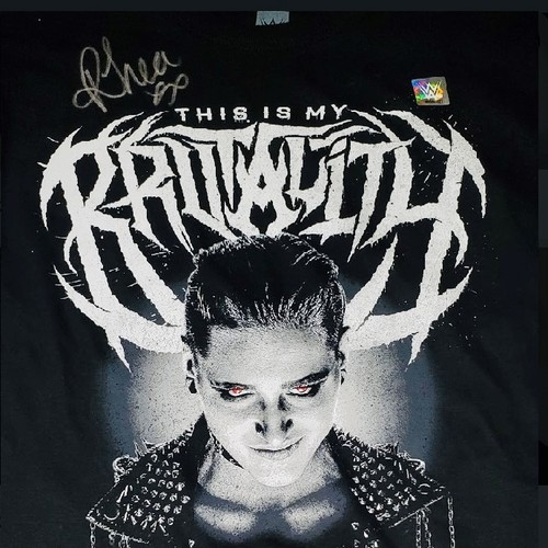 """Photo of Rhea Ripley SIGNED """"This Is My Brutality"""" Authentic T-Shirt (Silver Signature)"""