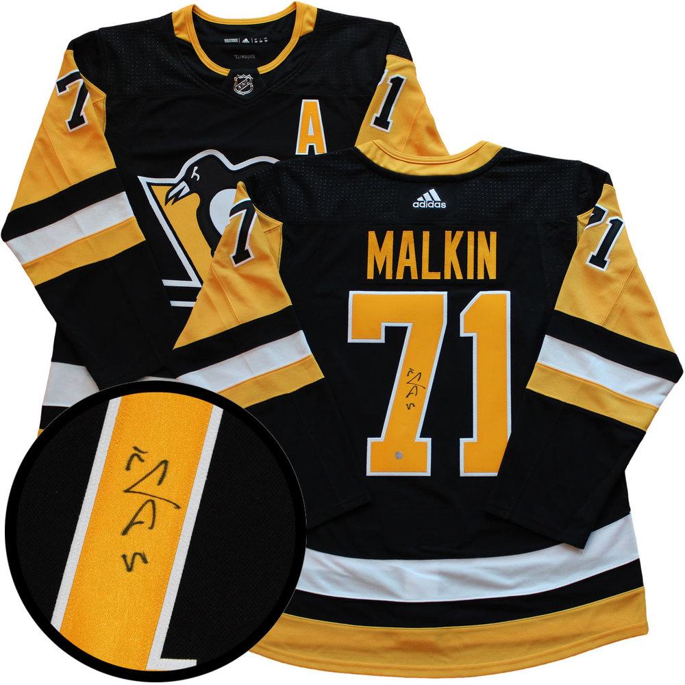 f4f9fdc02 Evgeni Malkin Signed Jersey Pro Adidas Penguins Black 17-18 - NHL ...