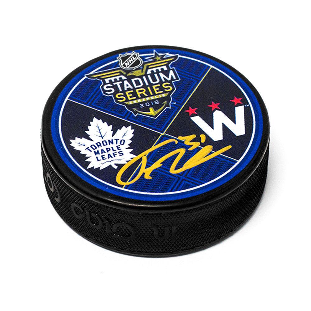 Frederik Andersen Toronto Maple Leafs Autographed 2018 Stadium Series Puck