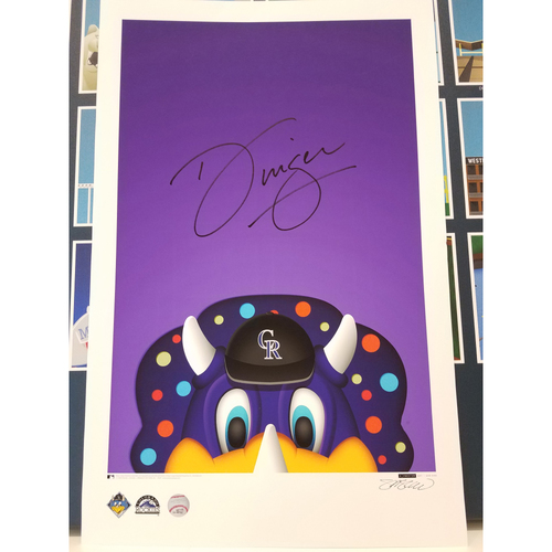 Photo of Colorado Rockies Autographed Minimalist Dinger Mascot Poster Print by S. Preston