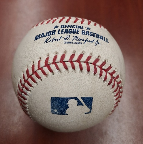 Photo of Authenticated Game Used Baseball - March 25, 2019 in Montreal vs Brewers: Kendrys Morales Singles against Brandon Woodruff (B2)