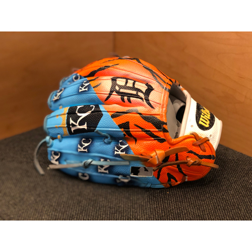 Photo of One-of-a-kind Custom Painted Tiger's vs. Royals Wilson A2000 Glove Made for Matt Boyd