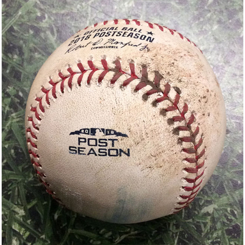 Photo of Game-Used Baseball NLCS Game 1 LAD@MIL 10/12/18 - Clayton Kershaw - Hernan Perez: Foul
