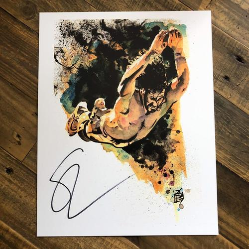 Photo of Seth Rollins (Diving) SIGNED 11 x 14 Rob Schamberger Print