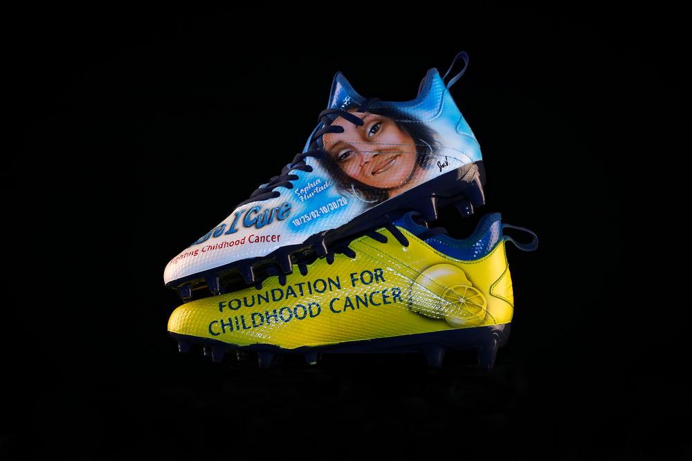 My Cause My Cleats - Patriots Sony Michel custom cleats supporting - Alex's Lemonade Stand Foundation I Care - I Cure Foundation - Cleats will be autographed