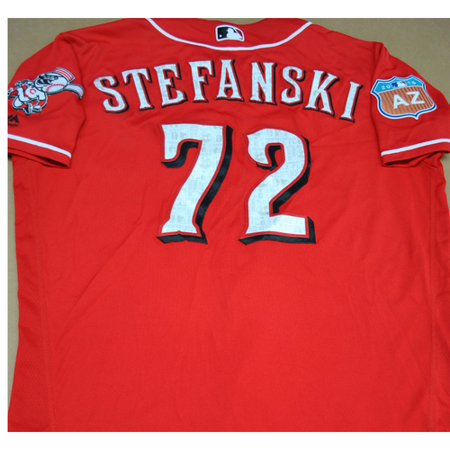 Photo of Game-Used 2016 Spring Training Jersey - Mike Stephanski - Size 48 - Cincinnati Reds