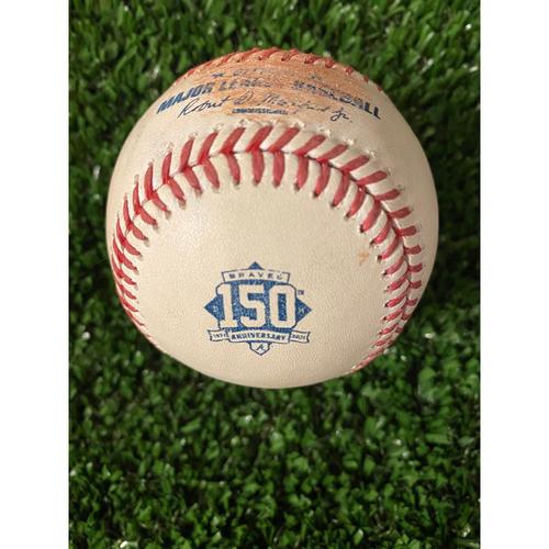 Photo of Home Opener Game Used Ball: 4/9/21 - Batter: Freddie Freeman, Pitcher: Zack Wheeler, Ball