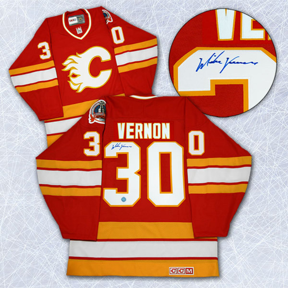 Mike Vernon Calgary Flames Autographed 1989 Stanley Cup Retro CCM Jersey
