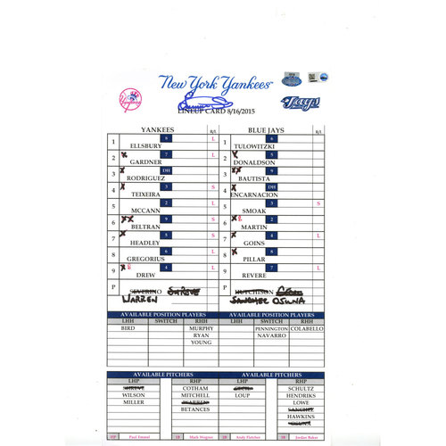 Luis Severino Signed Yankees at Blue Jays 8-16-2015 Game-Used Lineup Card (MLB Auth)