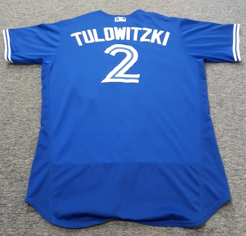 Photo of Authenticated Game Used Jersey - #2 Troy Tulowitzki (April 3, 2017: Opening Day. 0-for-5). Size 48.