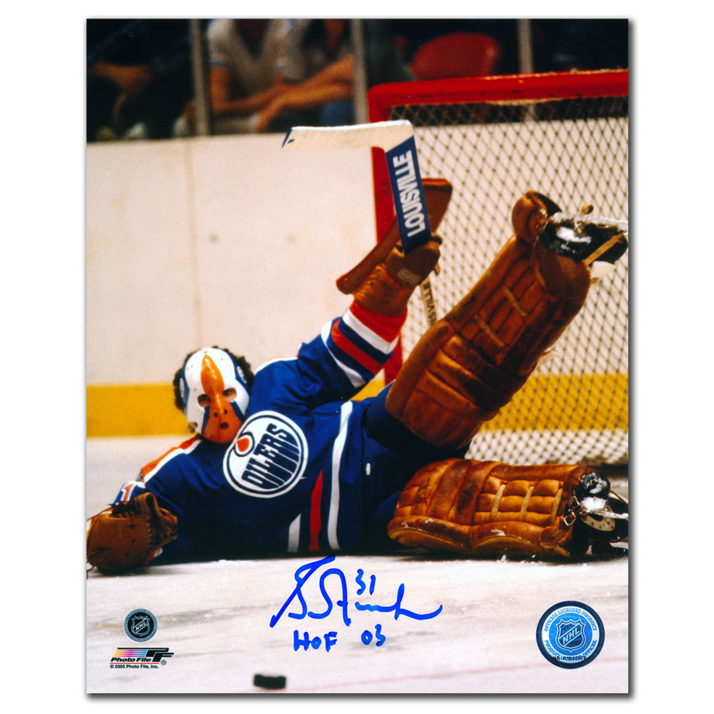Grant Fuhr Edmonton Oilers HOF BIG SAVE Autographed 8x10