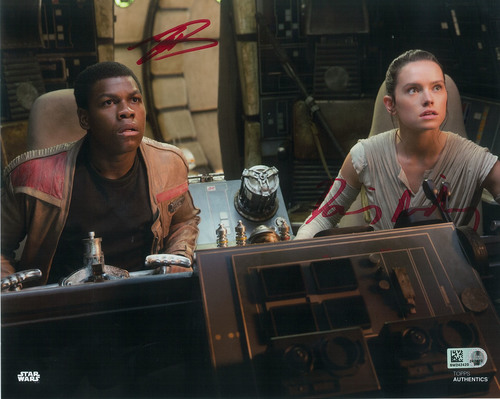 Daisy Ridley as Rey and John Boyega 8x10 Dual Autographed in Red Ink Photo