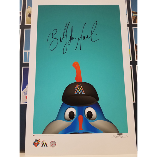 Photo of Miami Marlins Autographed Minimalist Billy the Marlin Mascot Poster Print by S. Preston