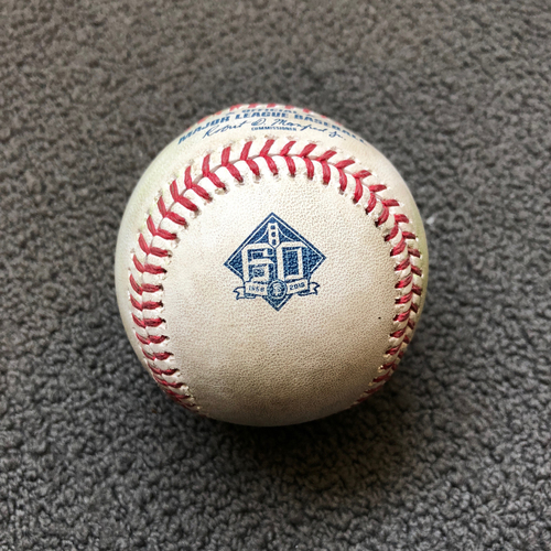 Photo of San Francisco Giants - 2018 Game-Used Baseball - Austin Jackson - Double to CF - 5/17/18 vs. Colorado Rockies