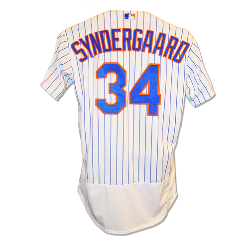 Photo of Noah Syndergaard #34 - Game Used White Pinstripe Jersey - Syndergaard Start, 7 IP, 7 K's, Earns 1st Win of 2019 - Mets vs. Twins - 4/10/19