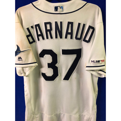 Photo of Game Used WALK-OFF HOME RUN Home Jersey: Travis d'Arnaud - July 6, 2019 v NYY