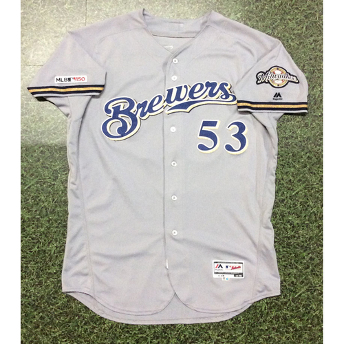 Photo of Brandon Woodruff 2019 Game-Used Road Grey Jersey