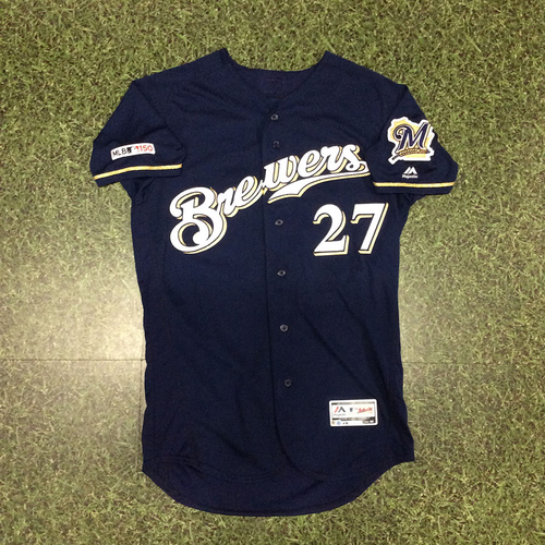 Photo of Zach Davies 2019 Game-Used Navy Alternate Jersey