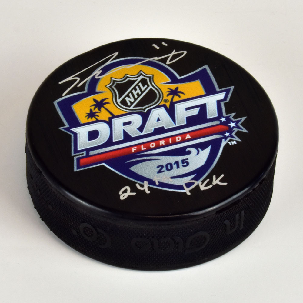 Travis Konecny 2015 NHL Draft Day Autographed Hockey Puck with 24th Pick Note *Philadelphia Flyers*