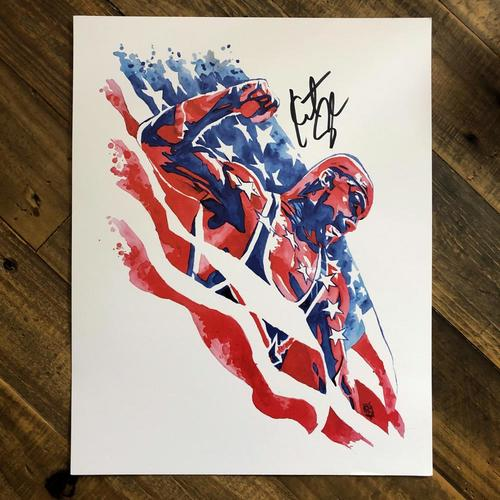 Photo of Kurt Angle SIGNED 11 x 14 Rob Schamberger Print