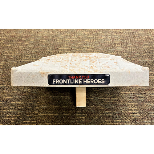 Photo of 2020 Home Game #2 Game-Used Base with Thank You Frontline Heroes Base Jewels (MLB AUTHENTICATED)