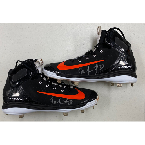 Photo of Team Issued Autographed Black & Orange Nike Cleats signed by #29 Jeff Samardzija - Size 13