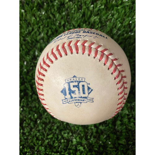 Photo of Home Opener Game Used Ball: 4/9/21 - Batter: Bryce Harper, Pitcher: Charlie Morton, Line Out
