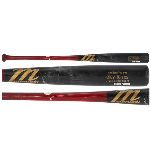 Photo of Gleyber Torres New York Yankees Game-Used Black and Brown Marucci Broken Bat vs. Toronto Blue Jays on April 4, 2021