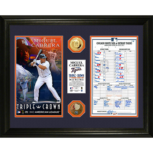 Detroit Tigers Miguel Cabrera Triple Crown Photo Mint with Replica Line Up Card