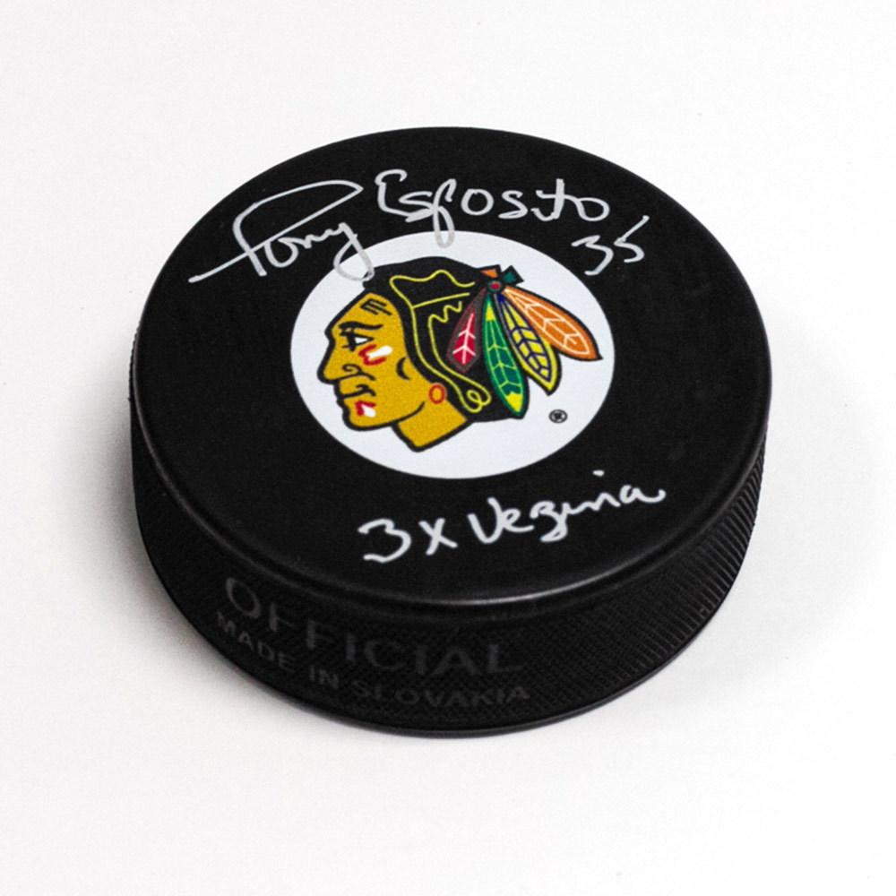 Tony Esposito Chicago Blackhawks Autographed Hockey Puck with 3 x Vezina Note