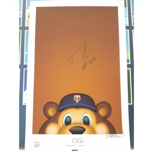 Photo of Minnesota Twins Autographed Minimalist TC Bear Mascot Poster Print by S. Preston
