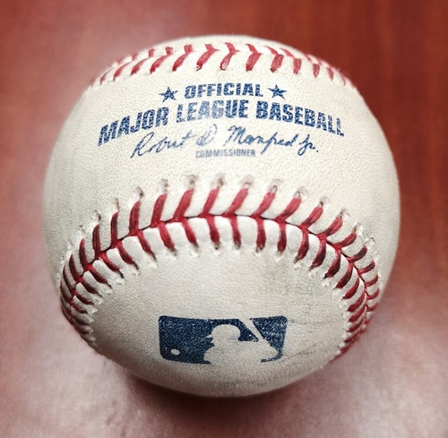 Photo of Authenticated Game Used Baseball - March 25, 2019 in Montreal vs Brewers: Billy McKinney Singles against Brandon Woodruff (B3)